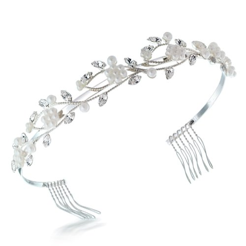 Bling Jewelry White Gold Plated Crystal Pearl Flower and Leaf Vines Bridal Tiara Headband