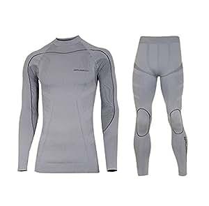 Thermo SET sous-vêtement de Ski de fonction (maillot + pantalon) long - Bodymapping, sans couture, qualité de professionnel, Größe:XL; Farbe:gris