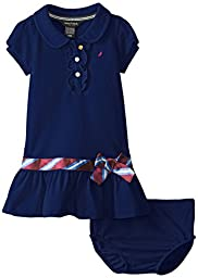 Nautica Baby Girls\' Pique Polo Dress with Gold Buttons, Medium Navy, 12 Months