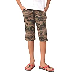 Clifton Boys Printed Army Capri - Walnut - Large