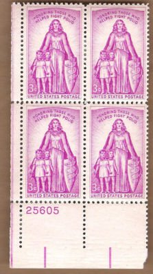Stamps US Polio Fighters Sc 1087 MNHVF Block