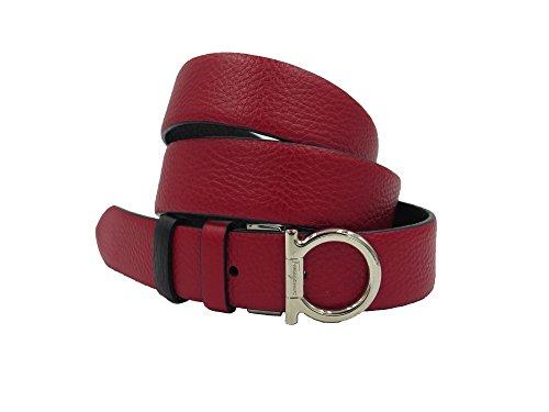 Salvatore Ferragamo Black Red Pebbled Leather Reversible Gancini Buckle Belt 100