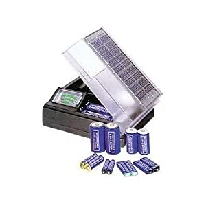Solar Powered Battery Charger with Meter Charges 2 D - C - AA - AAA Batteries