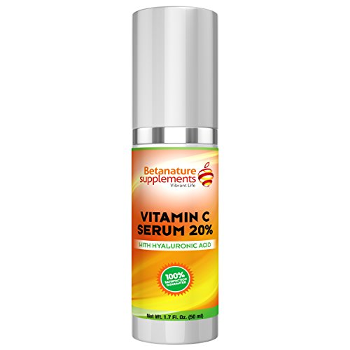BetaNature 50ml Vitamin C Serum 20% with Hyaluronic Acid - Age Defying Face Serum Witch Hazel & MSM. Air Tight Packaging For Maximum Potency. Fade Acne Topical Skin Care For Men & Women (Micro Essential Laboratory Inc compare prices)
