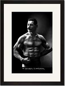 Black Framed/Matted Print 17x23, Oscar the Russian Wrestler