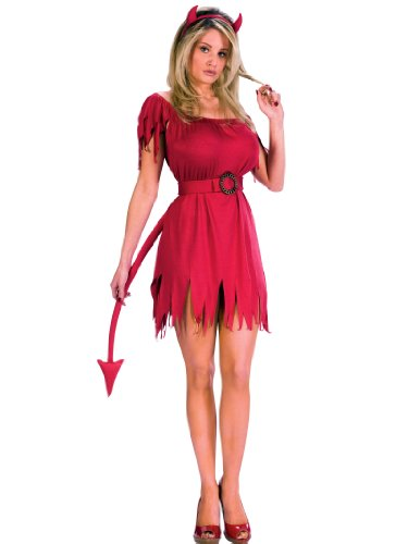 Short Red Devil Costume Dress with Tail and Horns Womens Theatrical Costume