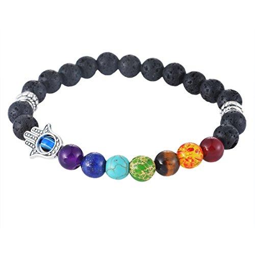 MJARTORIA Lava Rock Hamsa Hand Beads Charka Reiki Black Healing Energy Stone Bracelet