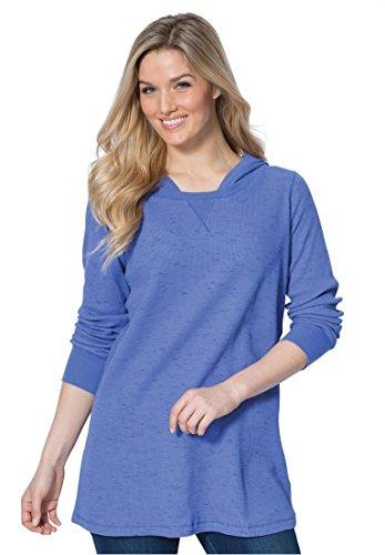 Women's Plus Size Marled Thermal Knit Sweatshirt Hoodie Tee Deep Periwinkle,M (Thermal Hoodie Womens compare prices)