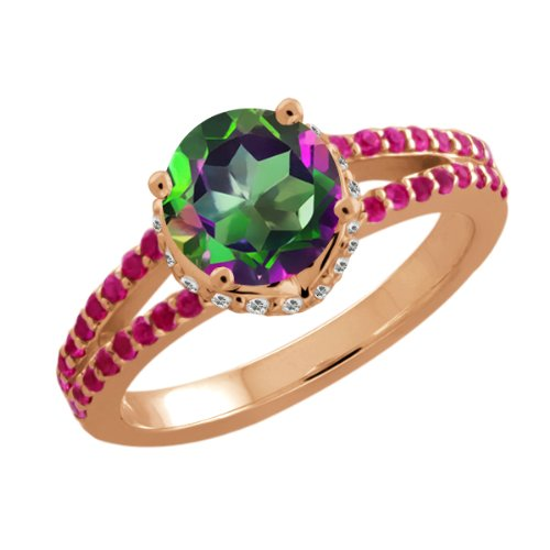 Mystic Topaz Wedding Rings 33 Ideal  Ct Round Green