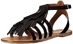 JSlides Women\'s Kai Flat Sandal, Black, 7 M US