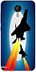 Snoogg Moon And Jet Fighters Designer Protective Back Case Cover For Micromax Canvas Nitro 3 E455