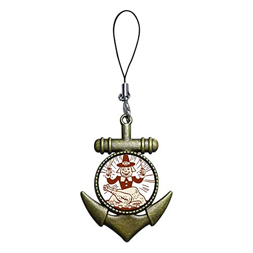 Giftjewelryshop Ancient Bronze Retro Style Thanksgiving Turkey Man With Fork Knife Flower Photo Anchor Strap Hanging Chain For Phone Cell Phone Charm