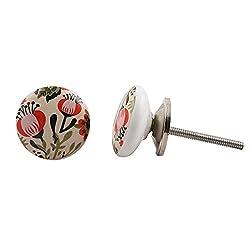 4 Pieces Ceramic Vintage Flower Cupboard Knobs Cabinet Handle Drawer Pull Vintage Designer Handmade