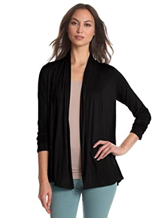 Leo & Nicole Women's Missy Long Sleeve Open Cardigan, Black, Small