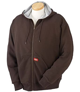 Dickies Men's Thermal Lined Zip Hooded Fleece Jacket, Dark Brown, Medium
