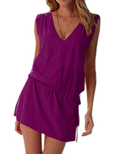 DELEY Donne Profondo Scollo a V Swim Beach Dress Aperto-back Beach Cover Up Tuniche Viola