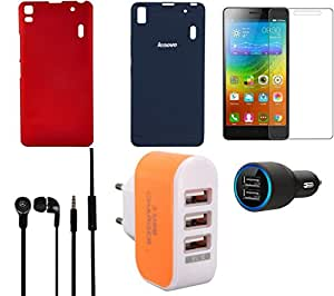 NIROSHA Tempered Glass Screen Guard Cover Case Car Charger Headphone Charger for Lenovo K3 Note - Combo