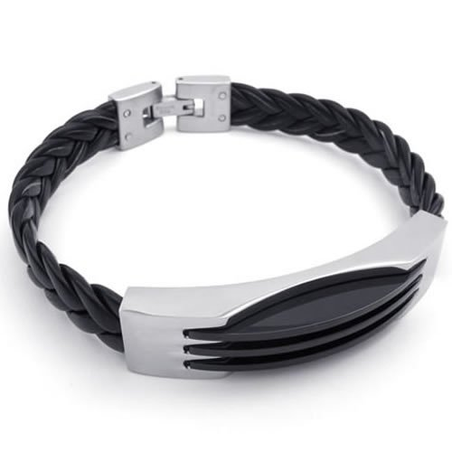 Konov Jewellery Stainless Steel Leather Mens Bracelet, Bangle, Color Black Silver (with Gift Bag)