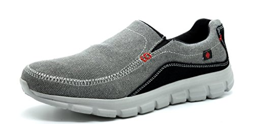 Dream Pairs Men's 151007 Athletic Light Weight Flexsible Free Walking Slip On Running Sport Sneakers New DK.GRY-BLK-RED SIZE 11