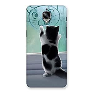 Ajay Enterprises Cute Kitty Face Print Back Case Cover for OnePlus 3