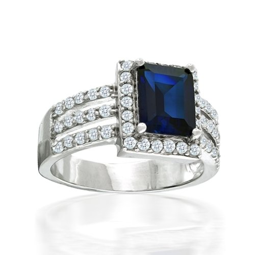 Bling Jewelry Sterling Silver Art Deco Blue Sapphire Diamond CZ Cocktail Ring-7