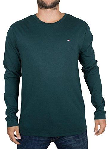 Tommy Hilfiger Uomo T-shirt maniche lunghe logo biologico, Verde, Medium