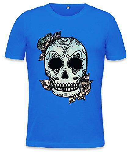 Mexican Sugar Skull Roses Mens T-Shirt Medium