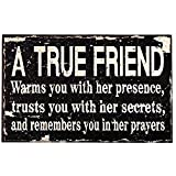 ADECO [SP0104] Decorative Wood Wall Sign Plaque - Home Decor Art with Inspirational Quotes A TRUE FRIEND...,Great Gift