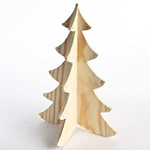 "Package of 3 - Unfinished 3 Dimensional Wood Tree Cutout - Ready to Decorate for the Holiday Season - Each Measures 12"" Tall"