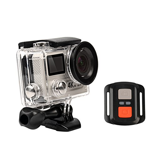 CkeyiN Mini Ultra HD 4K Caméra Action Sports Wi-Fi 30M Étanche Double-Écran 170 ° Grand Angle Helmet Camcorder + Télécommande 2.4G - Argent