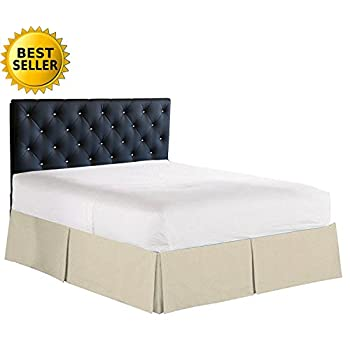 Elegant Comfort 1500 Thread Count Wrinkle & Fade Resistant Egyptian Quality Bed Skirt / Dust Ruffle - Pleated Tailored 14inch Drop, King, Cream