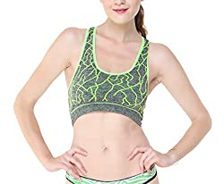 Glus Zig Zag Pattern Incredible Green Sports Bra (with Sweating Absorbing Fabric) (B, Medium)