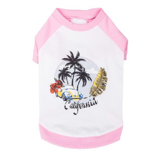 """Blueberry Pet Puppy Cat Clothes Chill Summer California Cotton Dog Shirt Xs For Small Puppy In Pink 8"""" Back Length, X-Small front-340096"""