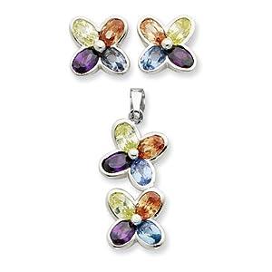 Sterling Silver Multi CZ Flower Pendant & Earring Set
