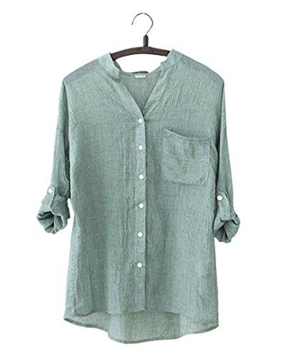 ange select 涼しい 綿 麻 素材 レディース シャツ しわ 加工 長袖 コットン ブラウス 体型 カバー 紫外線 UV 対策 (グリーンM)