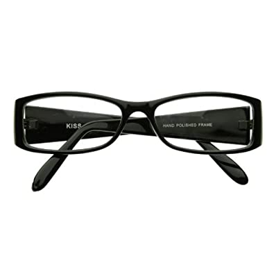 Classic Fashion Slim Frame Optical Eyewear Glasses with Clear Lenses (Black)