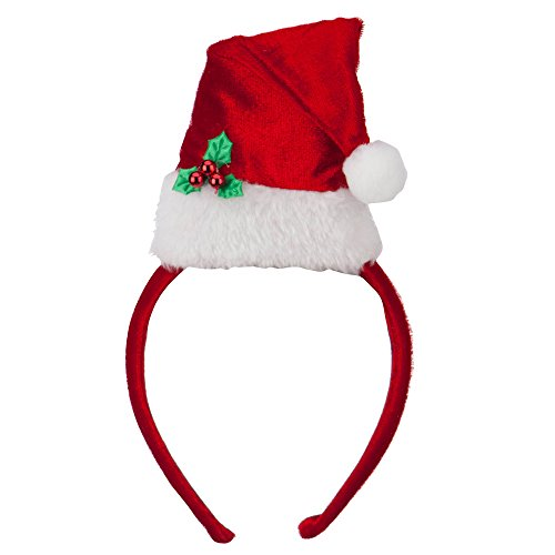 Plush Velvet Santa Hat Headband - Red