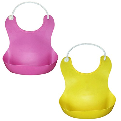 Iwotou Soft Waterproof Baby Bibs, Perfect For Your Baby Kids (Soft Silicone bibs, pink and yellow)