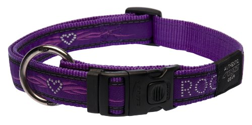 Rogz Fancy Dress Extra Large 1-Inch Armed Response Dog Collar, Purple Chrome Design