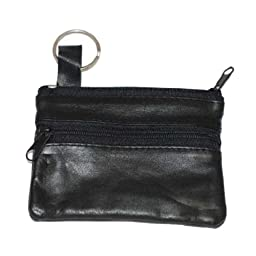 Marshal Womens Leather Change Purse w/ Key Ring (Black)