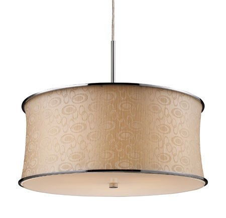 Fabrique 5-Light Drum Pendant In Polished Chrome And Retro Beige Shade