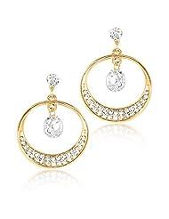BIG Tree 18K Gold Plated Rhinestone Diamond Circular Dangler Earring For Women.