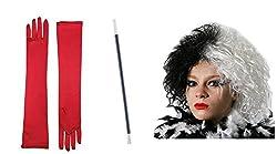 Evil Dog Lady Halloween Fancy Dress Set Includes Wig, Red Gloves & Cigarette Holder from Fancy Dress