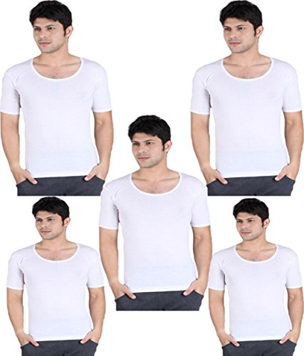 Alfa-Stylo-Mens-White-100-Cotton-RNS-Innerwear-Vest-with-Half-Sleeves-Pack-of-5