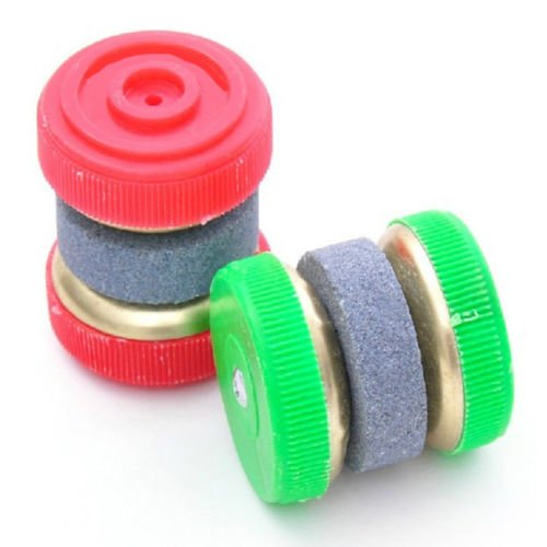 2PCS Green Red Easy Knife/Blade Sharpener Stone Two/2 Wheel Stone Abrader/Grinding/Kitchen - 1