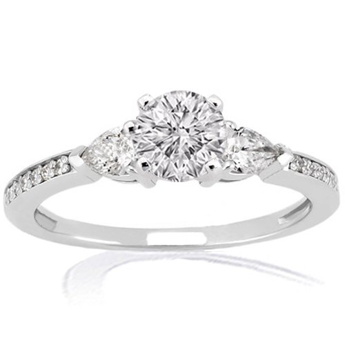 1.35 Ct Round 3 Stone Diamond Engagement Ring