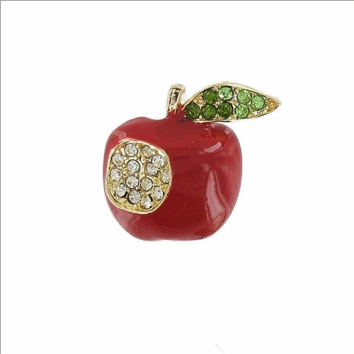 Apple Design with Crystal Stone Pin #035046