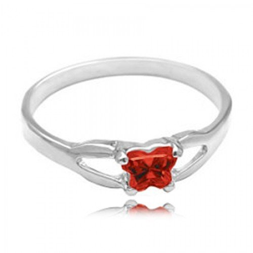 Sterling Silver Child'S January Red Cubic Zirconia