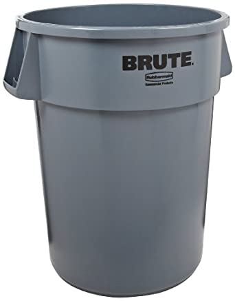 "Rubbermaid Commercial Plastic 44-Gallon Brute Garbage Can, Legend ""Brute"", Round, Gray"