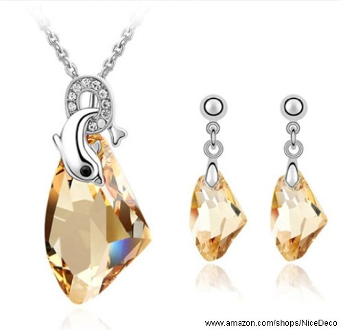 Nicedeco Je-Sw-Tz076-Gold,Swarovski Elements Austrian Crystal Jewelry Sets,Dolphins Love,Necklace And Earring(2-Piece Set),Elegant Style And Exquisite Craftsmanship